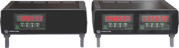 Two Laureate meters by Laurel Electronics, Inc.